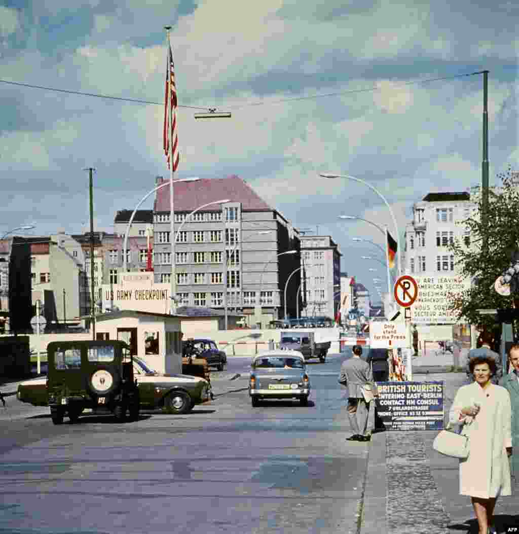 "Picture taken in June 1968 of the famous ""Checkpoint Charlie"" crossing point, marking the border between East and West Berlin."
