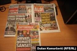 Naslovne strane beogradskih tabloida (6. avgust 2015)