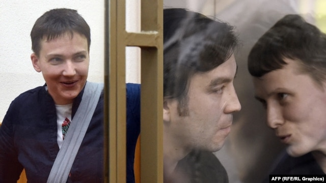 Комбіноване фото: Надія Савченко (л); Євген Єрофеєв (с) і Олександр Александров (п)