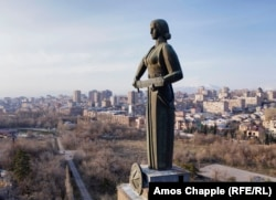 "The Mother Armenia monument in March 2021. Harutyunyan said he wanted Mother Armenia to represent ""strength, heroism, and victory."" The sword of war is not raised in threat, but held at the ready in case it is needed."