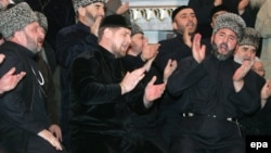 Chechen leader Ramzan Kadyrov (center) has aggressively promoted a form of Sufi Islam in the Russian republic.