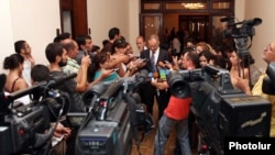 Armenia - TV and other journalists interview an opposition leader in Yerevan.