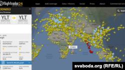 Сайт Flightradar24.com адсочвае экіпаж Санты