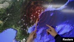 محل شناسایی لرزههای پس از انفجار روز چهارشنبه در کره شمالی