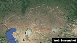 Условная дистанция от полигона Капустин Яр до полигона Сарышаган. Иллюстративное фото.