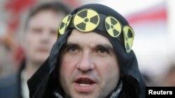 Демонстрация оппозиции в Минске, в том числе против строительства АЭС, накануне годовщины Чернобыльской аварии. 25 апреля 2013 года
