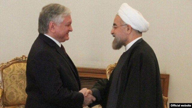 Iran - President Hassan Rouhani (R) meets with Armenian Foreign Minister Edward Nalbandian, Tehran, 5May2014.