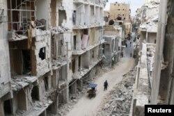 Один из удерживаемых повстанцами районов Алеппо. 5 мая 2016