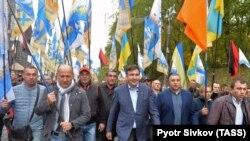 Михаил Саакашвили на демонстрации в Киеве 17 октября 2017 г.
