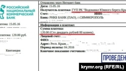 Крым: чеки за коммунальные платежи, вода и канализация