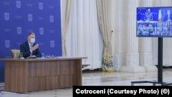 România - Președintele Klaus Iohannis la ședința, în sistem de videoconferință, a Consiliului European de joi
