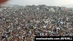 Thousands of people attended a Pashtun Tahafuz Movement rally in Miramsha, North Waziristan, on November 15, 2020.