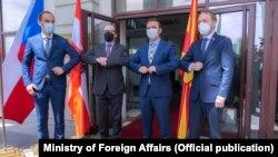 Министерот за надворешни работи Бујар Османи и на министрите за надворешни работи на Австрија, Словенија и на Чешка - Александер Шаленберг, Анже Логар и Јакуб Кулханек.