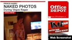 Pamje nga uebsajti tmz.com që i publikoi foto lakuriqe të Princit Hari