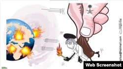 A cartoon in the Saudi daily Okaz