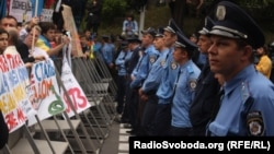 Protest împotriva oficializării limbii ruse, în faţa Radei supreme de la Kiev.