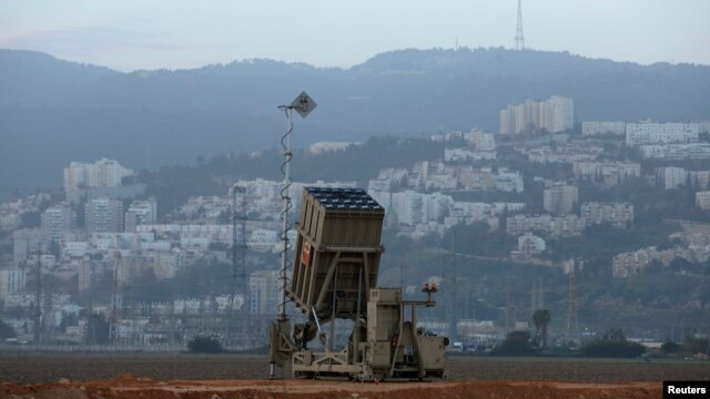 An Israeli Iron Dome rocket interceptor battery is deployed near the northern city of Haifa on January 28, one of two deployed to the area.