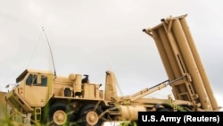 GUAM -- A U.S. Army Terminal High Altitude Area Defense (THAAD) weapon system is seen on Andersen Air Force Base, October 26, 2017