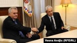 Tomislav Nikolić i Boris Tadić na sastanku u Beogradu, 28. maj 2012.
