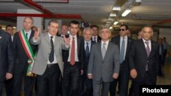 Armenia -- President Serzh Sarkisian attends the opening of a multi-storey underground parking facility, Yerevan, 24May2010