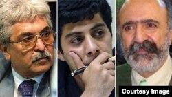 (راست به چپ) کیوان صمیمی، مسعود باستانی و محمد سیفزاده از جمله امضاکنندگان نامه به سازمان ملل هستند.