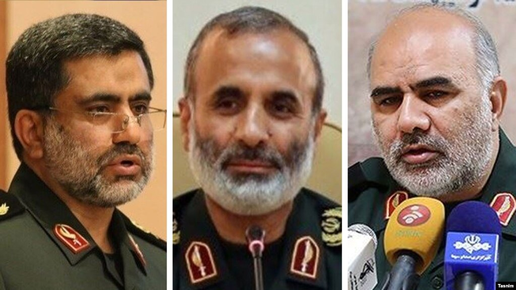 (L to R) Muhammad Tavalaee, a former deputy of the Revolutionary Guard, Mostafa Rabiee, Ex IRGC Commander and Ali Nassiri, former commander of the Revolutionary Guards. File photos