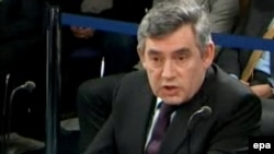 British Prime Minister Gordon Brown gives evidence before the inquiry into the Iraq war in London on March 5.