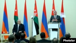 Armenia -- Jordan's King Abdullah delivers a speech at the presidential palace in Yerevan, February 11, 2020.