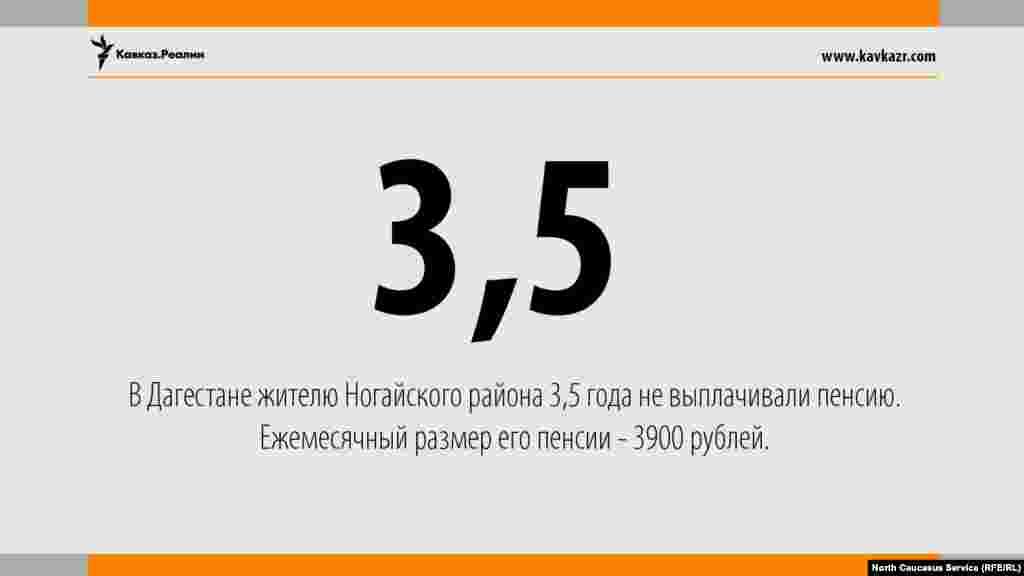 07.08.2017 /В Дагестане жителю Ногайского района 3,5 года не выплачивали пенсию. Ежемесячный размер его пенсии - 3900 рублей