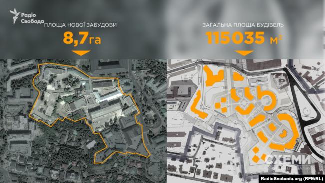 План проекту забудови на території колишньої взуттєвої фабрики «Київ» біля Києво-Печерської лаври