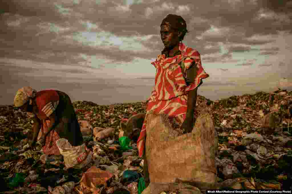 1st PLACE FOR PEOPLE: Amongst the Scavengers (Dandora Municipal Dump Site, near Nairobi, Kenya) -- At the end of the day, women are allowed to pick through the dumpsite. (Caption by photographer Micah Albert)