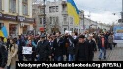Хода в Сімферополі на підтримку підписання Угоди про Асоціацію України та ЄС, грудень 2013 року