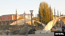 A Serb barricade near the main bridge in Mitrovica.