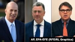"""The """"Three Amigos"""" (left to right:) former U.S. Ambassador to the EU Gordon Sondland, ex-U.S. special envoy to Ukraine Kurt Volker, and former U.S. Energy Secretary Rick Perry (composite file photo)"""