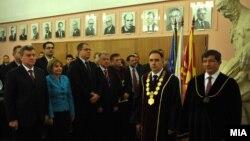 Турскиот министер за надворешни работи Ахмет Давутоглу стана почесен доктор на науки на Универзитетот Кирил и Методиј.