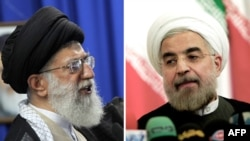 Iranian Supreme Leader Ayatollah Ali Khamenei (left) has taken issue with President Hassan Rohani's comments on the duties of police.
