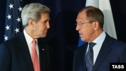 John Kerry și Serghei Lavrov la New York, 27 septembrie 2015