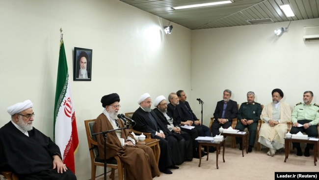 Iran's Supreme Leader Ayatollah Ali Khamenei meets with Iranian President Hassan Rouhani and other officials, in Tehran, Iran November 15, 2017. Rouhani and a few others named in the book are seen in this photo.