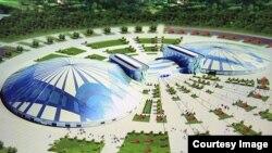 Макет ледовой арены, строительство которой планируется к Универсиаде в Алматы.