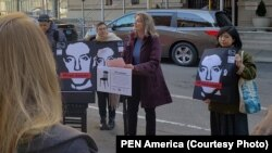 PEN America President Jennifer Egan, honoring RFE/RL contributor Stanislav Aseyev on Empty Chair Day at the Russian Consulate in New York.