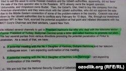 Швед прокурорлари очиқлаган имейлларга кўра TeliaSonera 2007 йилда Гулнора Каримова билан контакт ўрнатишга уринган.