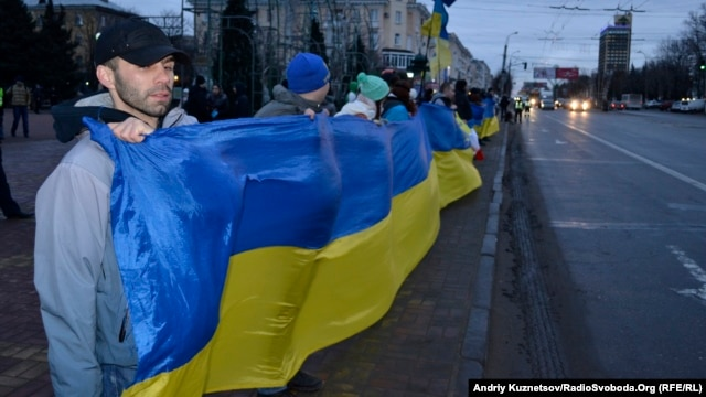 Ukrainians in the city of Lugansk demonstrate in January in support of the Euromaidan protests in the capital, Kyiv, and elsewhere.