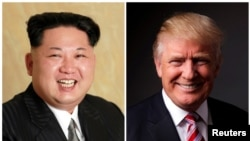 A combo photo shows North Korean leader Kim Jong Un (left) and U.S. President Donald Trump