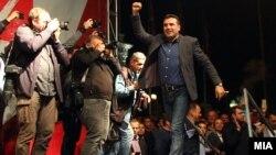 Претседателот на СДСМ, Зоран Заев на прослава на изборната победа пред владата