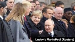 Președintele rus Vladimir Putin sosește la ceremoniile de la Arcul de Triumf,, Paris 11 noiembrie 2018