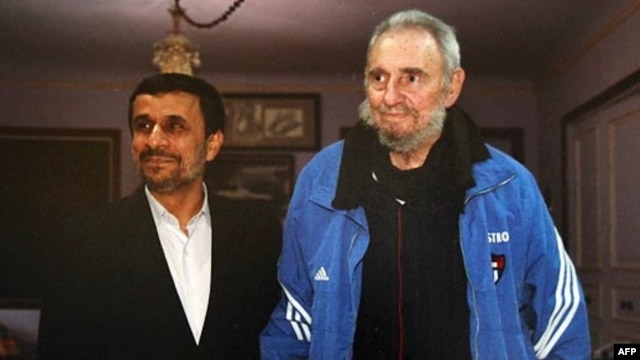 Clad in his Adidas tracksuit, Fidel Castro (right) meets with Iranian President Mahmud Ahmadinejad in Havana on January 11.