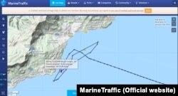 Траектория судна «Князь Владимир», которое в течение 7 часов не могло попасть в порт Ялты 9 августа