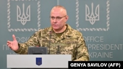 General Ruslan Khomchak, military commander of the Armed Forces of Ukraine, speaks at a briefing in Kyiv on February 18, 2020.