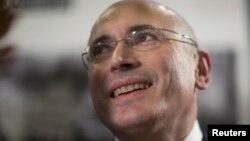 Михаил Ходорковский на устроенной им пресс-конференции в Берлине. 22 декабря 2013 года.