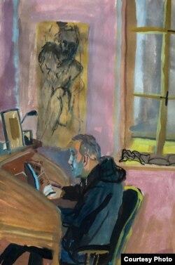 Альгерд Бахарэвіч працуе над «Плошчай Перамогі», Грац, 2021, карціна Кацярыны Дубовік